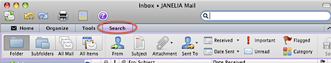 Finding the hidden Search options in Outlook 2011 (5/6)