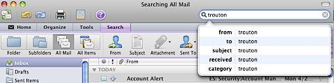 Finding the hidden Search options in Outlook 2011 (2/6)