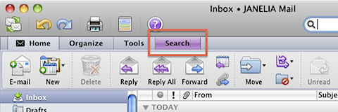 Finding the hidden Search options in Outlook 2011 (4/6)