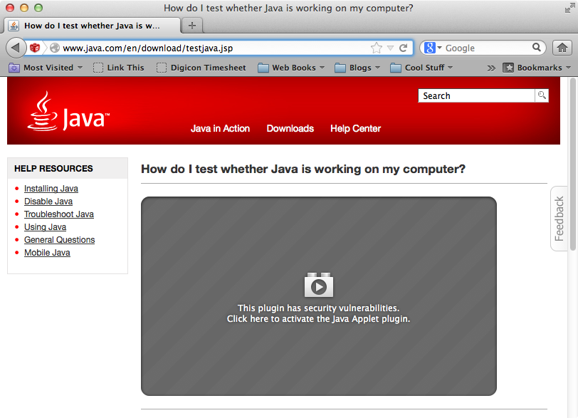Oracle Java 7 plug-in blocked by Safari | Der Flounder