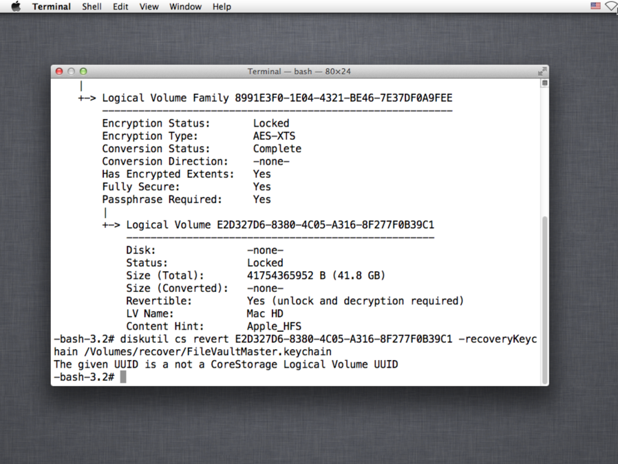 Mac OS X 10 8 4's Recovery HD removes ability to decrypt FileVault 2
