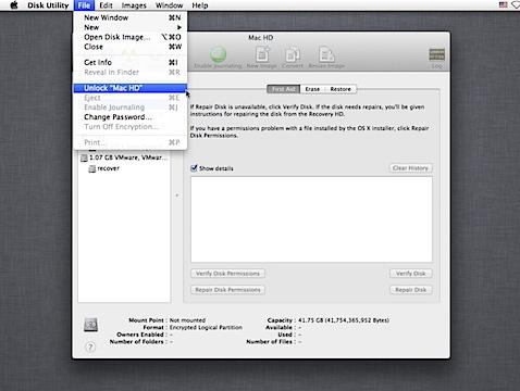 Decrypting FileVault 2 on Mac OS X 10.8.4 - Unlock first, then decrypt (1/6)