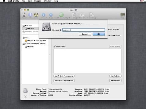Decrypting FileVault 2 on Mac OS X 10.8.4 - Unlock first, then decrypt (4/6)