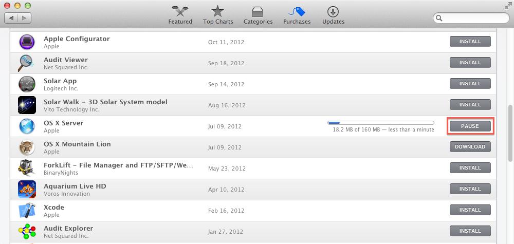 Downloading Apple's Server app installer package | Der Flounder