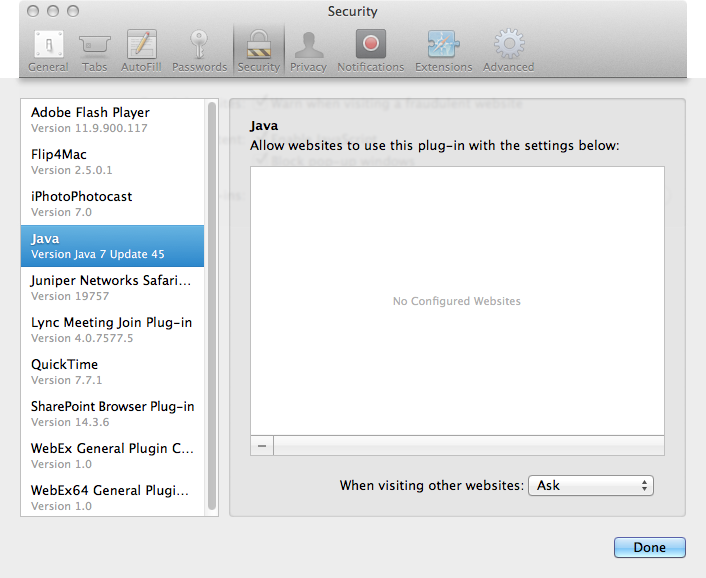 Connections to Juniper Network Connect VPN failing in Safari