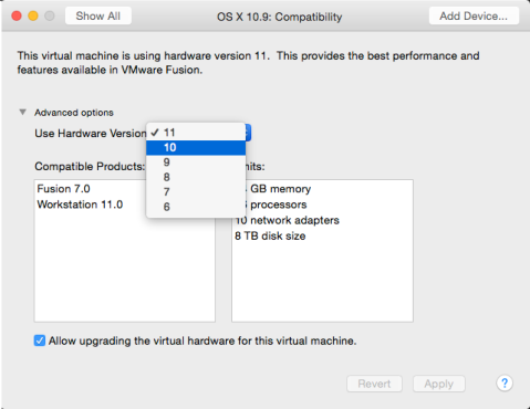 Figure_26–Choosing_to_change_the_VMware_hardware_version_in_the_Compatibility_settings