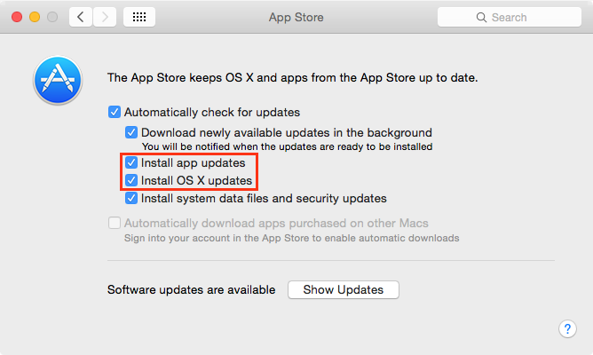 Managing automatic App Store and OS X update installation on
