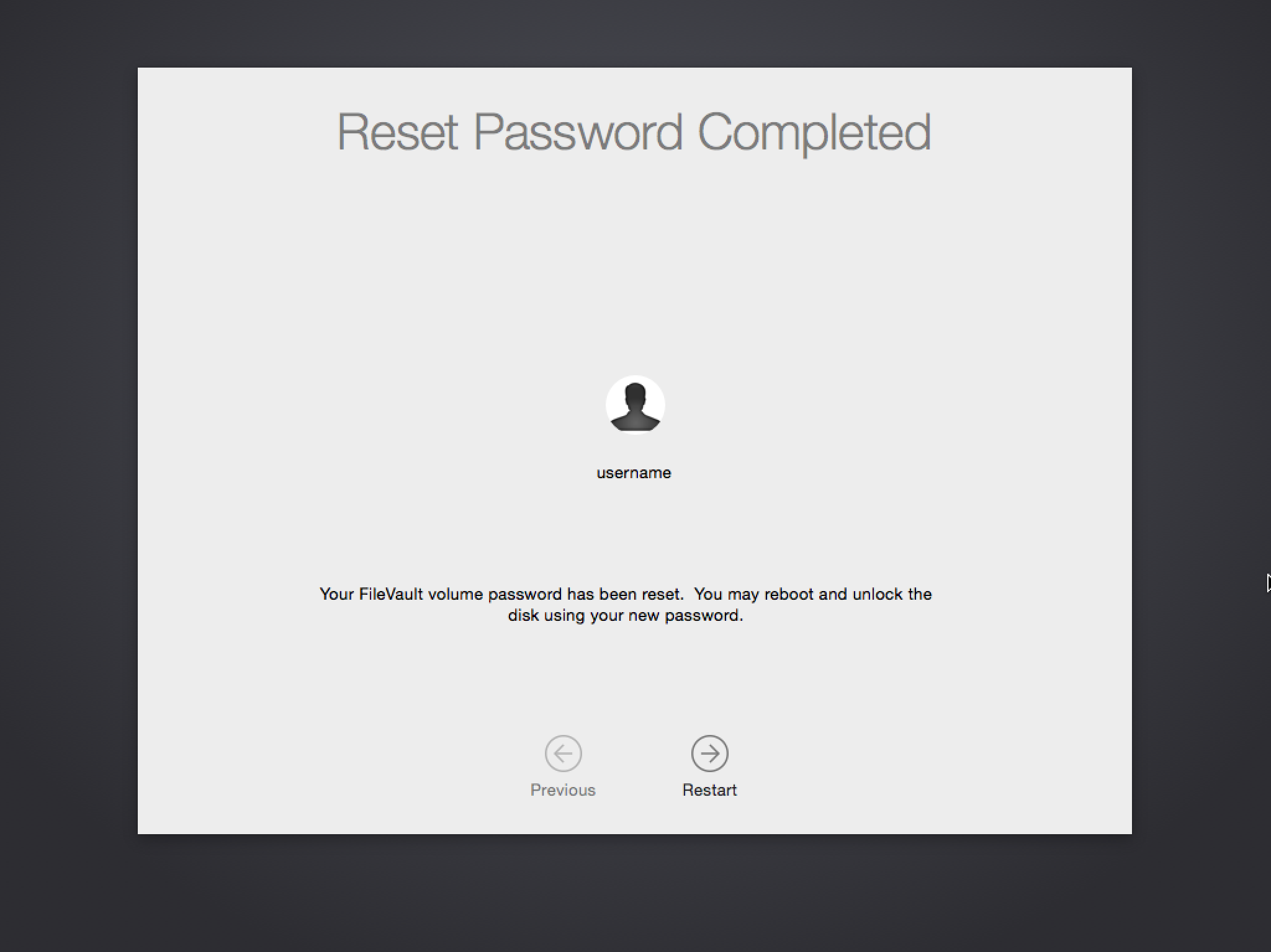 Yosemite's FileVault 2 pre-boot recovery options | Der Flounder