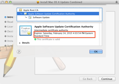 Certificate authority expiration and Apple software updates