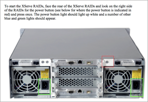 Figure 3 Diagram describing proper operation of the power button on an Apple Xserve RAID