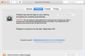 Filevault stuck encryption paused