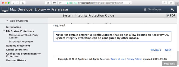 Apple developer documentation for configuring SIP outside recovery