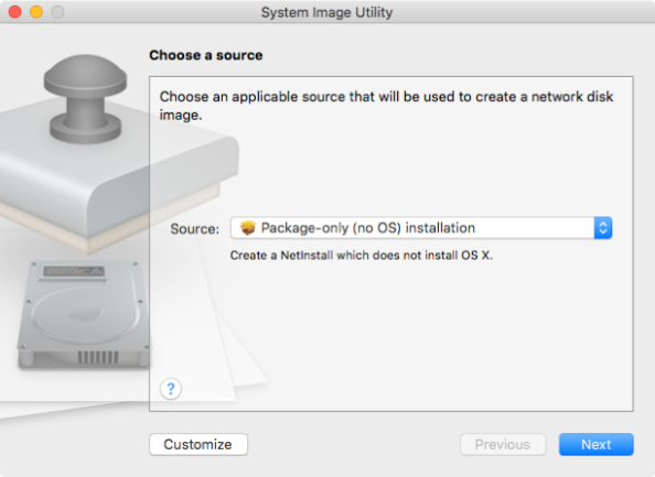 System image utility package only installation