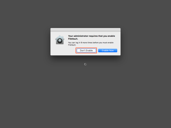 Figure 12 User being given the option to defer FileVault 2 encryption
