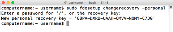 Figure 28 Using fdesetup changerecovery to change to a new personal recovery key