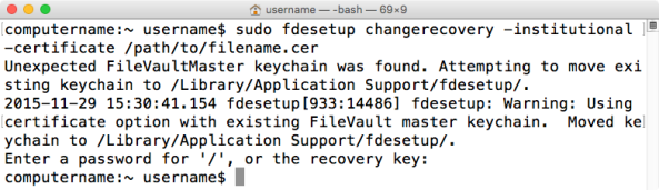 Figure 31 Using fdesetup changerecovery to change to a new institutional recovery key