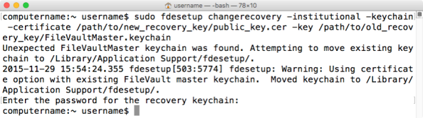 Figure 33 Using fdesetup changerecovery with institutional recovery keychain
