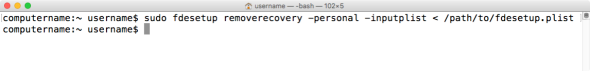 Figure 36 Using fdesetup removerecovery personal with inputplist