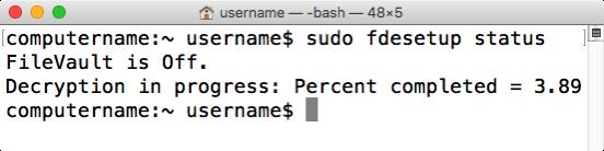Figure 48 fdesetup status reporting decryption status