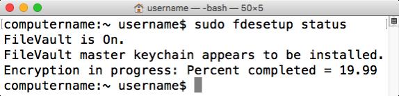 Figure 49 fdesetup status reporting encryption status