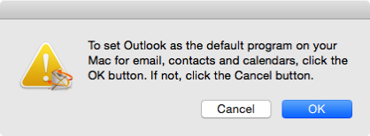 Setting Microsoft Outlook as the default application for