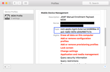 Checking the Apple Push Notification Service certificate identifier