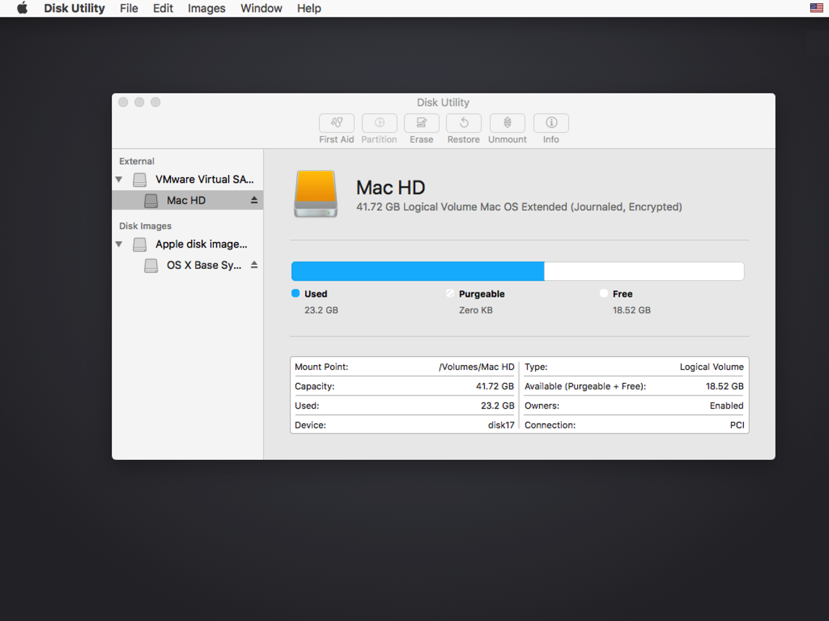 Using Disk Utility on macOS Sierra to unlock FileVault 2