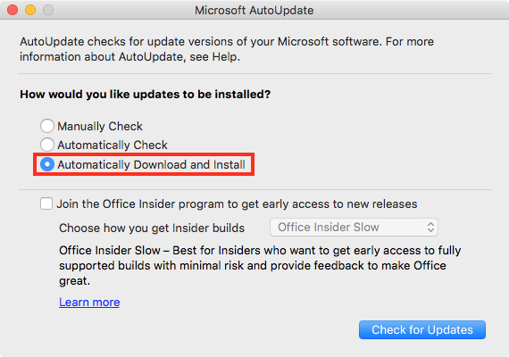 Enabling automatic download and installation of Microsoft