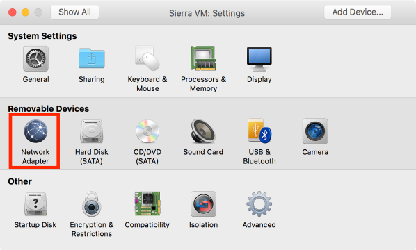 Vm settings network adapter