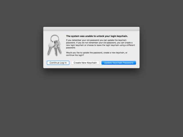 Changing local account passwords may cause new login keychain to be  silently generated on macOS High Sierra | Der Flounder