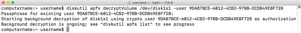 Diskutil apfs decryptVolume dev disk1s1 user account UUID decrypting