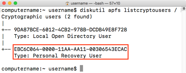 Diskutil apfs listcryptousers dev disk1s1 personal recovery key UUID