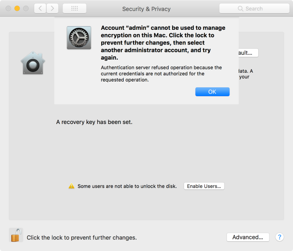 Filevault preference pane account without secure token cannot manage filevault