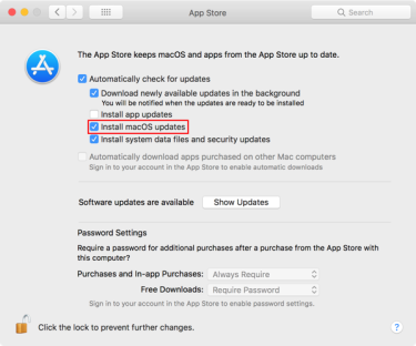 Enabling automatic macOS software updates for OS X Yosemite through