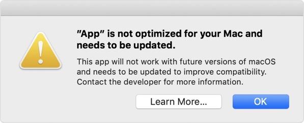 Macos mojave 32 bit app alert