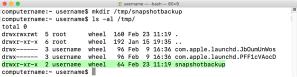 Figure 12 Creating the snapshotbackup directory in tmp