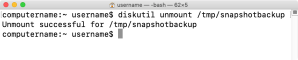 Figure 19 Unmounting snapshot using the diskutil unmount command