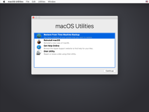 Figure 20 Accessing the Restore from Time Machine Backup option in macOS Recovery
