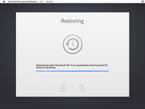 Figure 25 Restoring the snapshot s contents to the boot drive