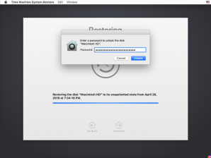 Figure 31 Entering a FileVault enabled account s password to enable the restore process to proceed