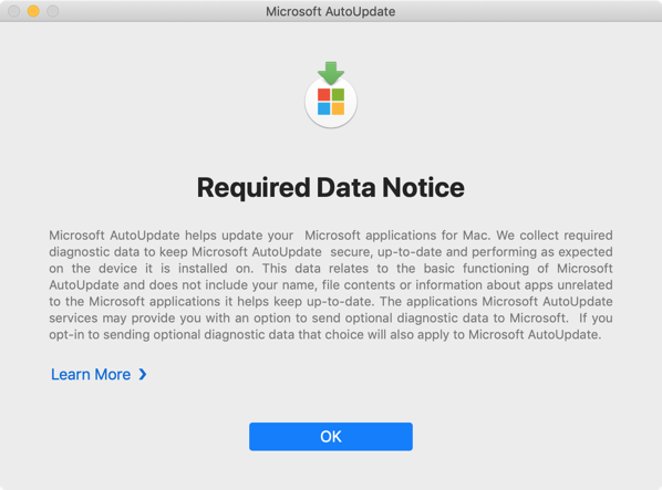 Disable mau required data notice screen