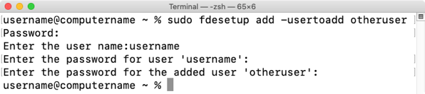 Figure 21 Using fdesetup add usertoadd to enable additional accounts