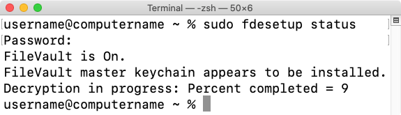 Figure 45 fdesetup status reporting decryption status
