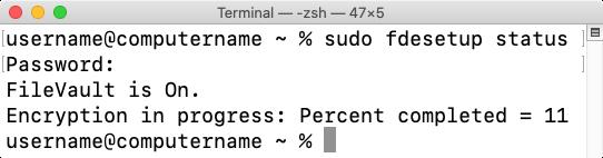 Figure 46 fdesetup status reporting encryption status