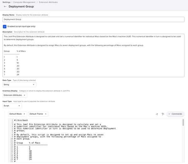 Jamf Pro Extension Attribute Setup